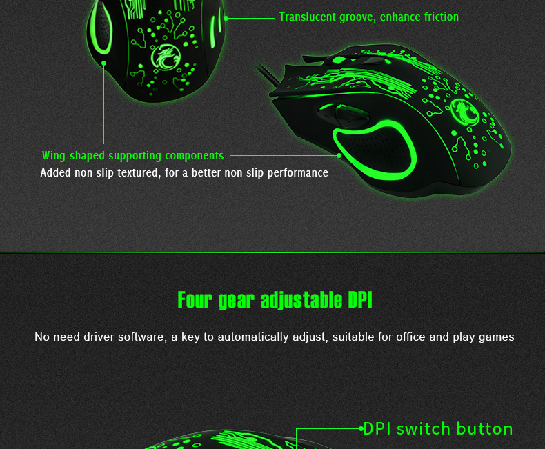 IMICE X9 2400DPI Adjustable Colorful LED 6 Buttons USB Wired Optical Gaming Mouse for PC Laptop