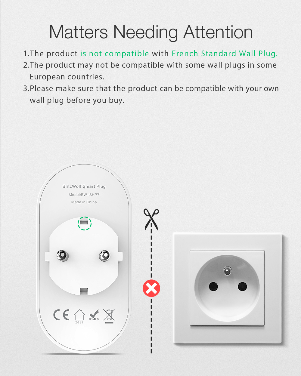 BlitzWolf® BW-SHP7 16A 2 IN 1 Dual EU Plug Smart WIFI Socket Independent Remote Controller Electricity Statistics Home Light Switch Timer