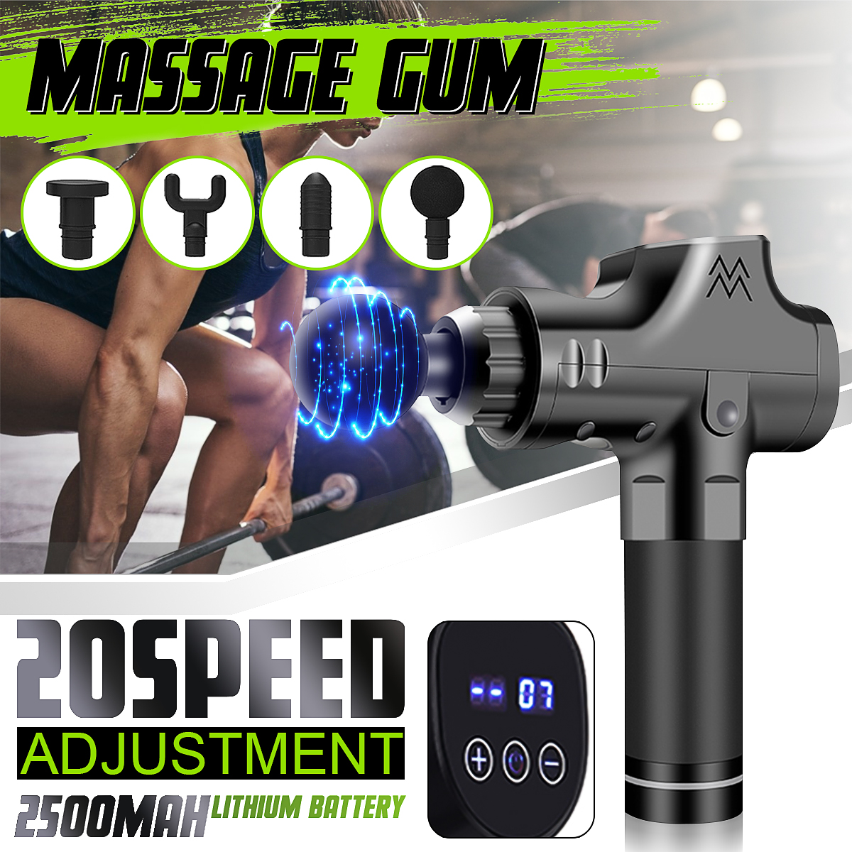 20 Speeds LCD Electric Percussion Vibration Muscle Massager