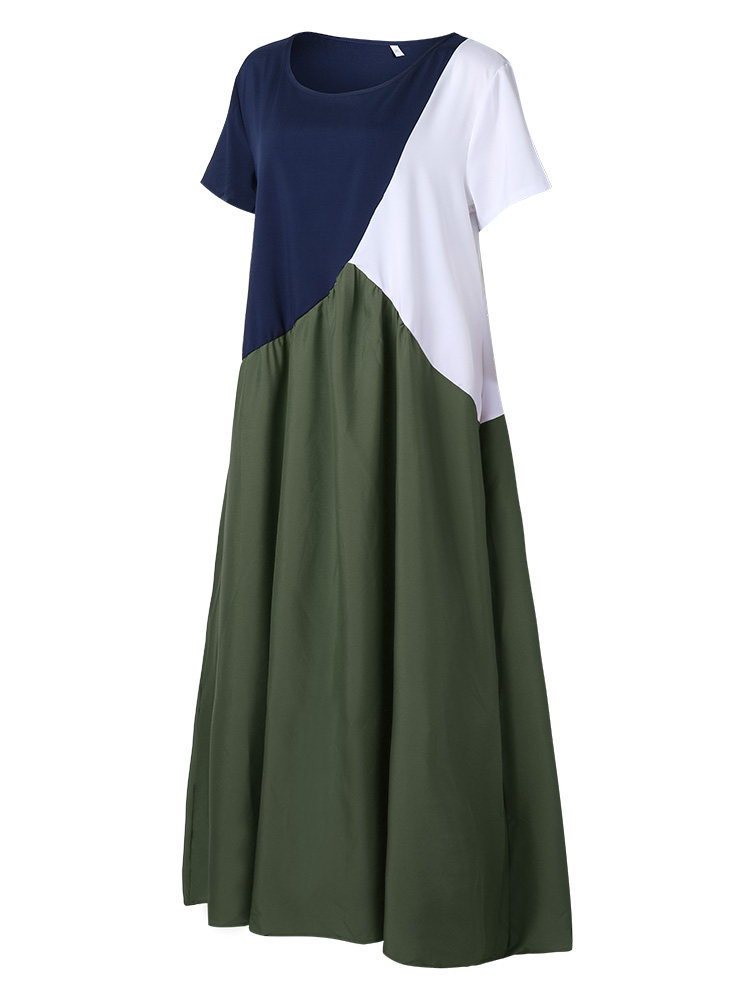 Contrast Color Splice Pleated Short Sleeve Maxi Dress