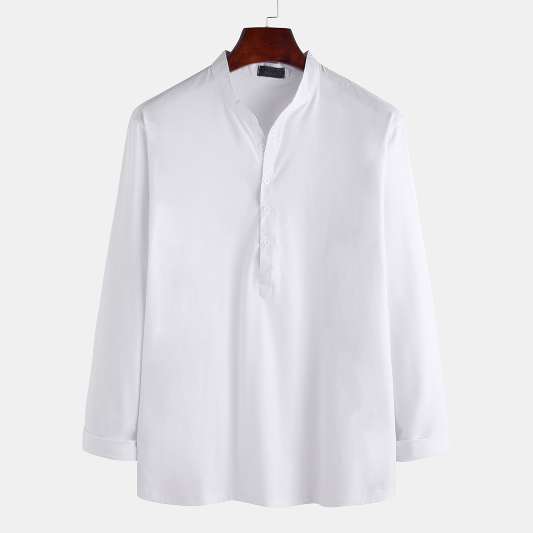 Mens Solid Color Half Open Button Fashion Stand Collar Long