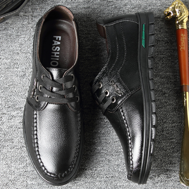 Men Pure Color Comfy Lace Up Casual Leather Shoes
