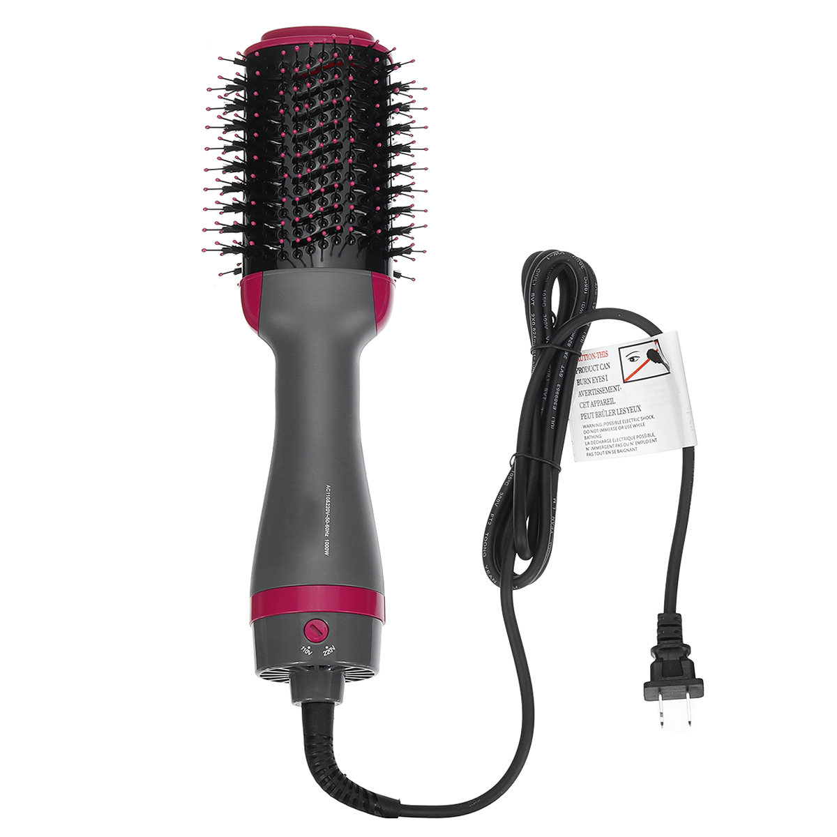 2 In 1 1000W Hair Dryer Blower Brush Comb Volumizer Straightening Curling Smoothing Comb