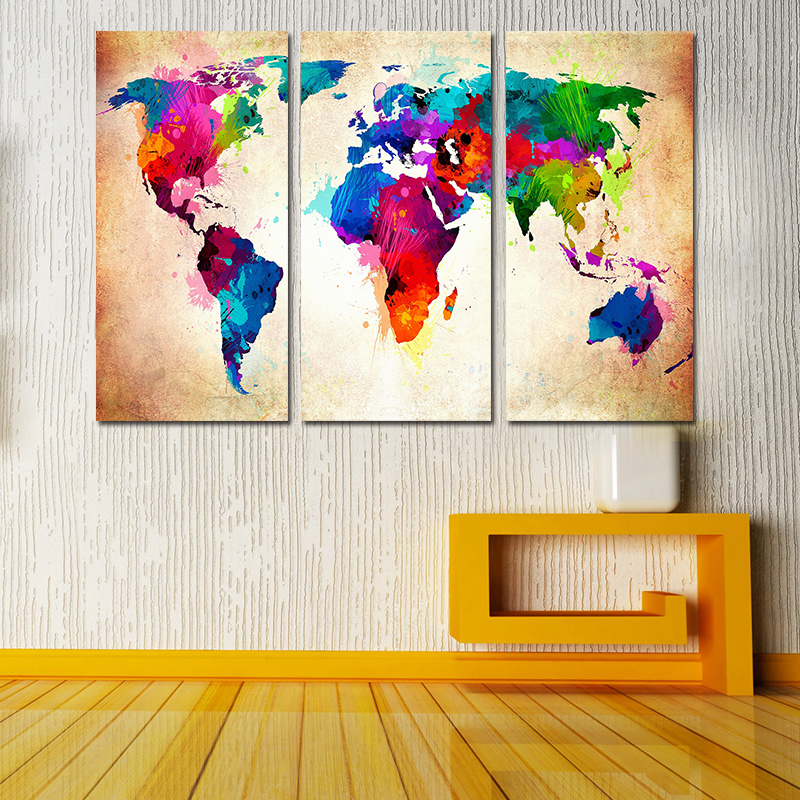 Miico Hand Painted Three Combination Decorative Paintings Colorful World Map Wall Art For Home Decoration