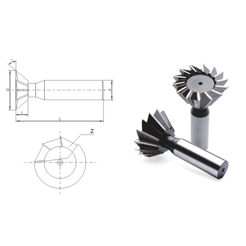 Drillpro 55 Degree 40-60mm HSS Straight Shank Dovetail Groove Slot Milling Cutter End Mill CNC Bit