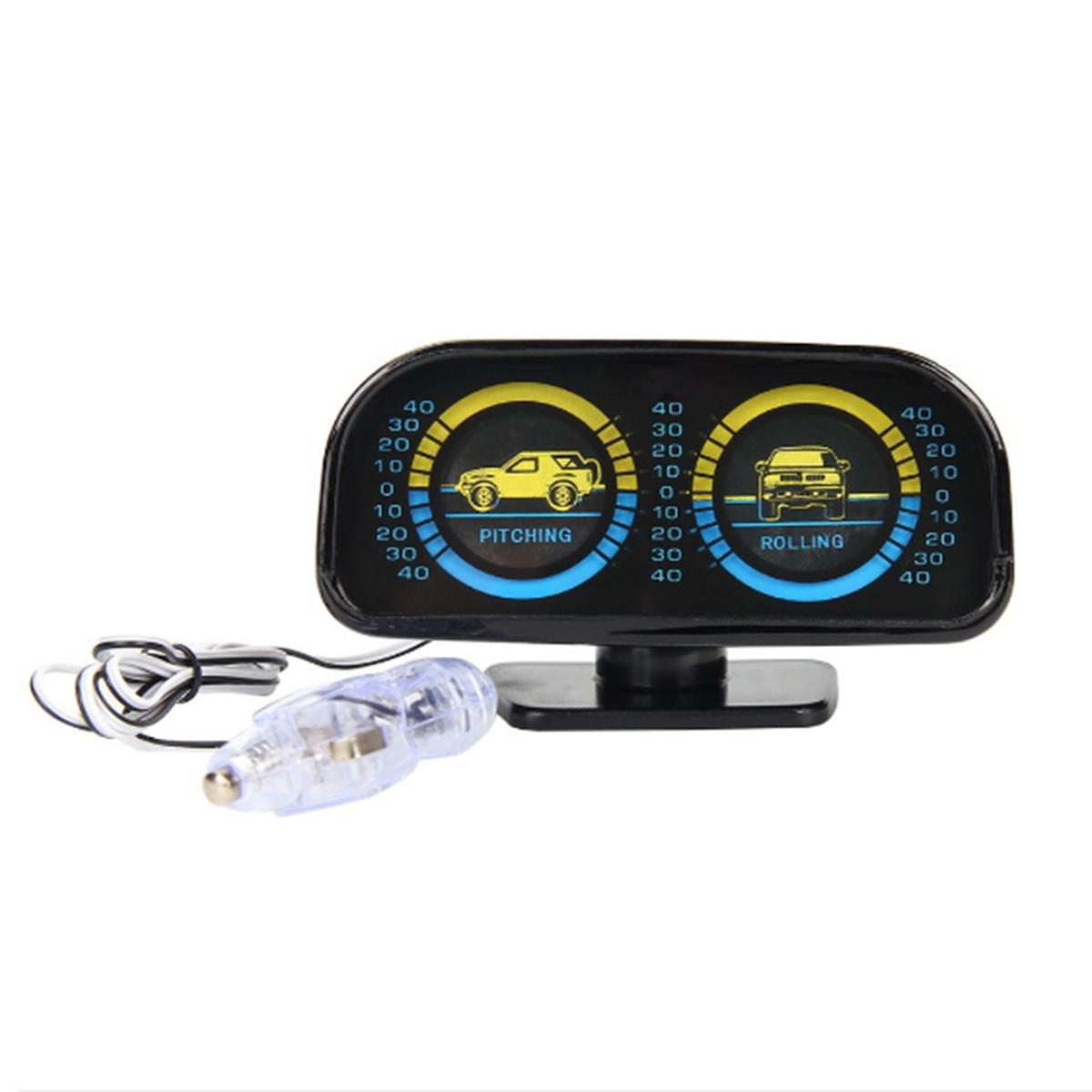 12V Two-barreled Backlight Slope Meter Inclinometer Compass Balance Level Balancer for Car Off-road