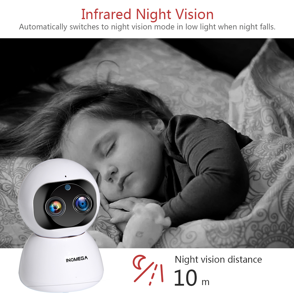 [Dual Lens] INQMEGA Cloud 1080P 2MP Dual-Lens PT 360° Wireless IP Camera Wifi Auto Tracking Indoor Home Security Surveillance CCTV Network Baby Monitors