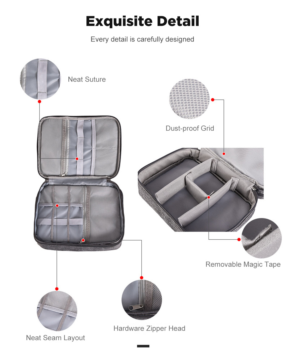 Xmund XD-DY25 Multifunction Digital Storage Bag USB Charger Earphone Organizer Portable Travel Cable Bag