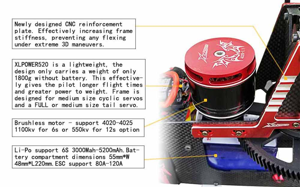 XLPower 520 XL520 FBL 6CH 3D Flying RC Helicopter Super Combo With 1100KV Motor 120A V4 ESC KST Digital Servos - Photo: 3