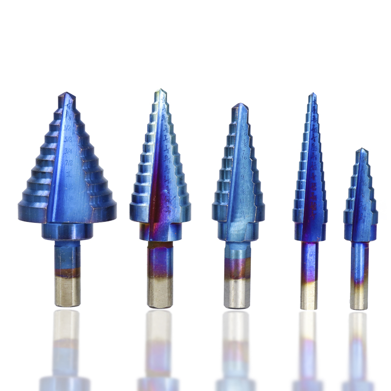Drillpro 6Pcs HSS Nano Blue Coated Step Drill Bit With Center Punch Set Hole Cutter Drilling Tool