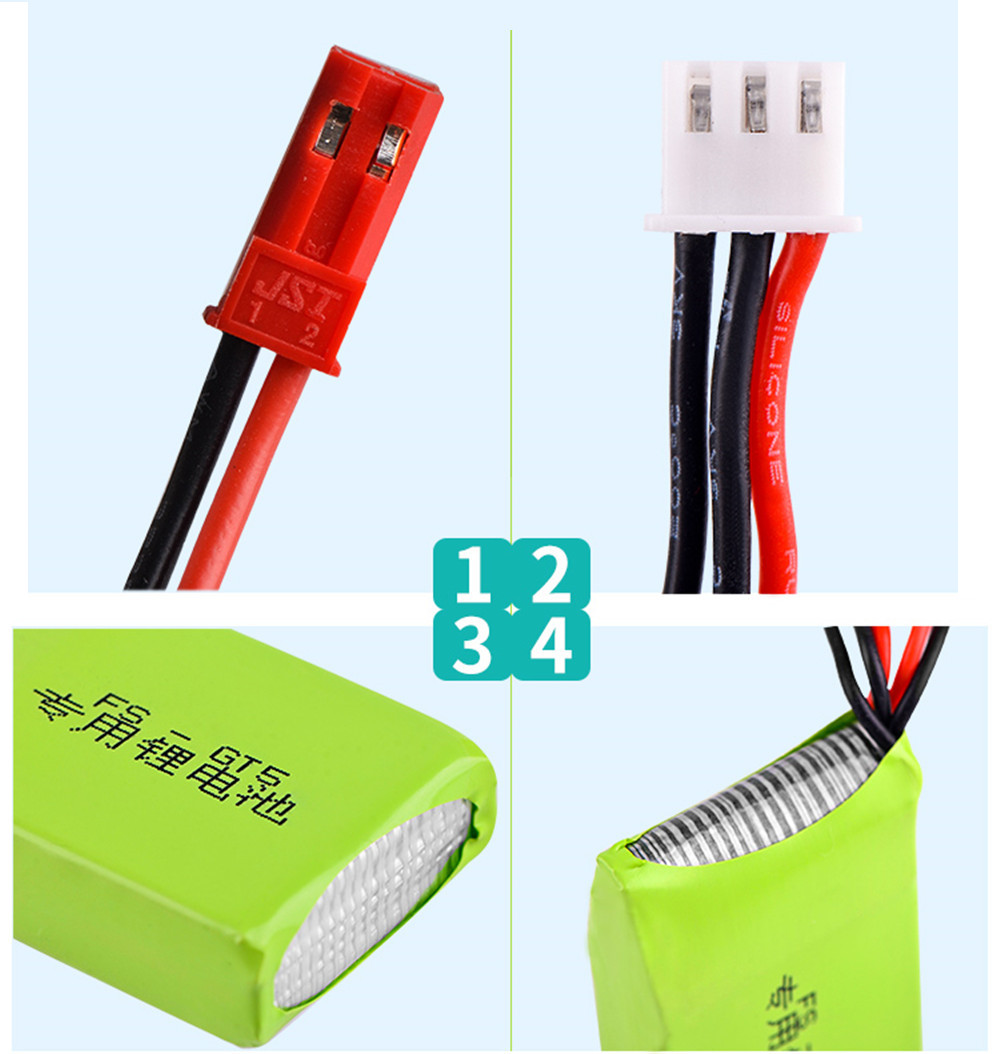 Flysky 7.4V 1500mAh 8C 2S Li-ion Battery JST Plug for FS-GT5 2.4G 6CH RC Transmitter - Photo: 3