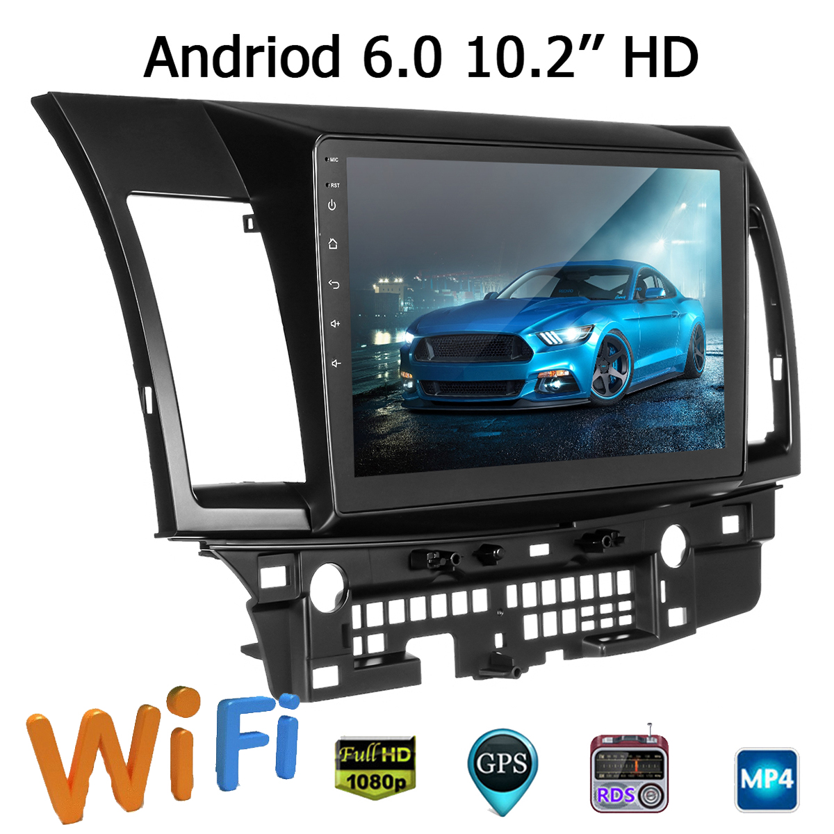 10.2 Inch 2Din for Android 6.0 Car Stereo Radio MP5 Player IPS Quad Core 1+16G GPS Touch Screen Wifi Micro For Mitsubishi Lancer