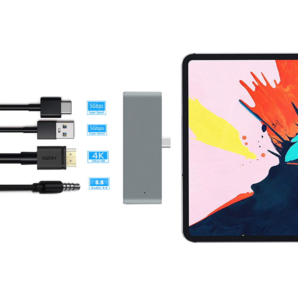 Bakeey Type-C USB-C-Hub-Adapter mit Type-C PD-Lade- / USB-3.0-Anschluss / 3,5-mm-Audiobuchse / 4K 30Hz HD Display für das Type-C Tablet-Smartphone iPad Pro 2018 Samsung Galaxy S10 Huawei P30 Pro