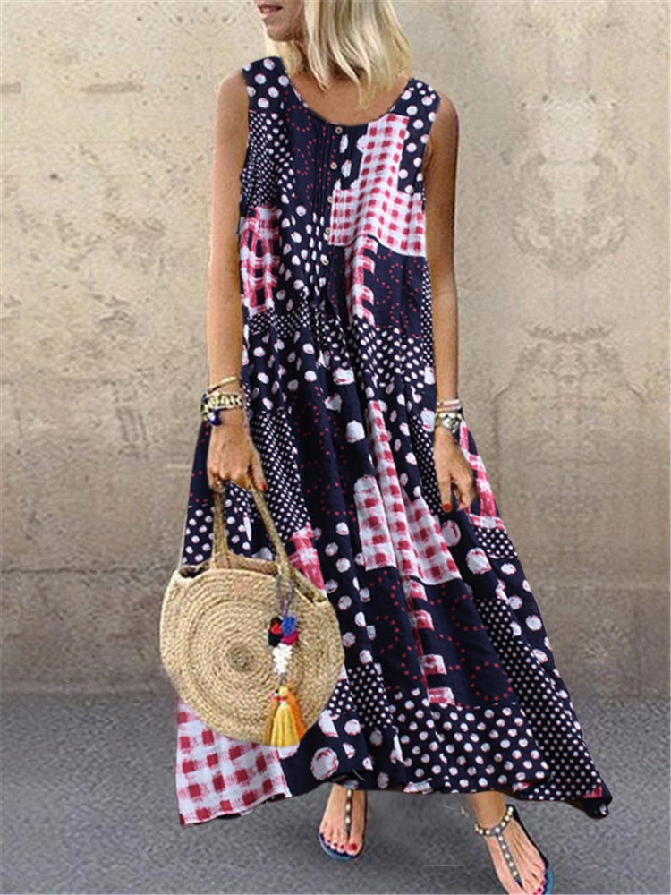 Polka Dot Plaid Maxi Dress