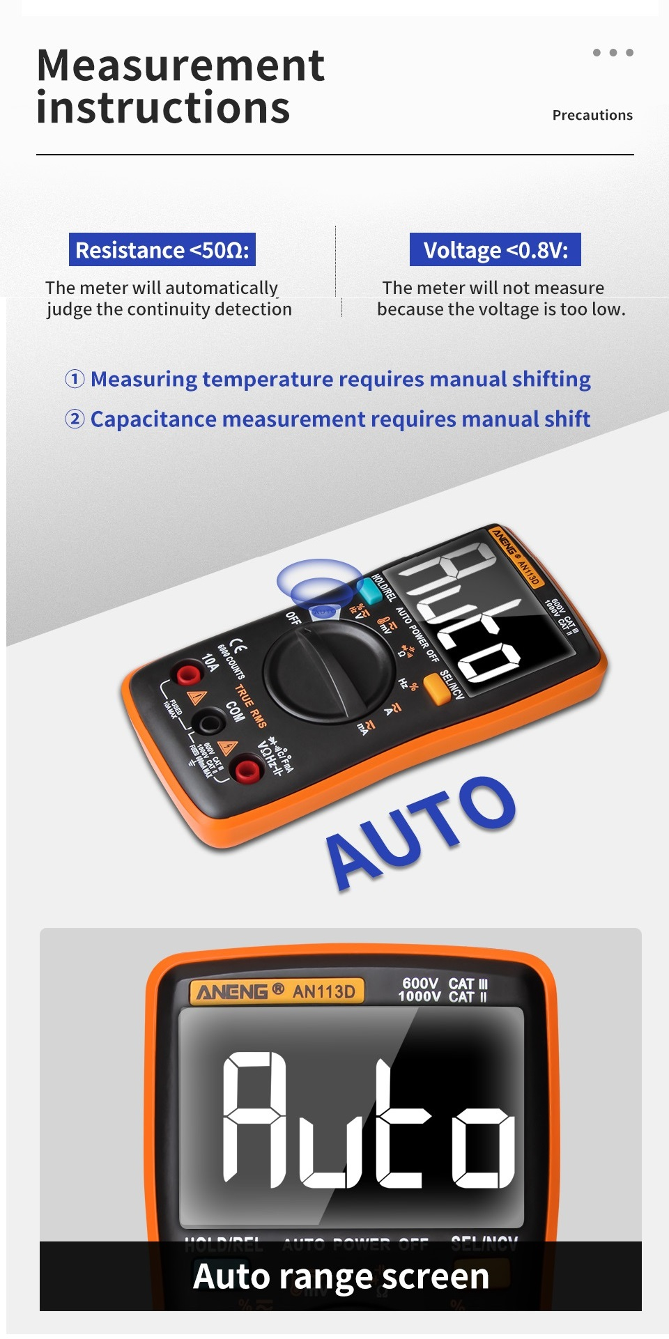 ANENG AN113D Intelligent Auto Measure True- RMS Digital Multimeter 6000 Counts Resistance Diode Continuity Tester Temperature AC/DC Voltage Current Meter Upgraded from AN8002