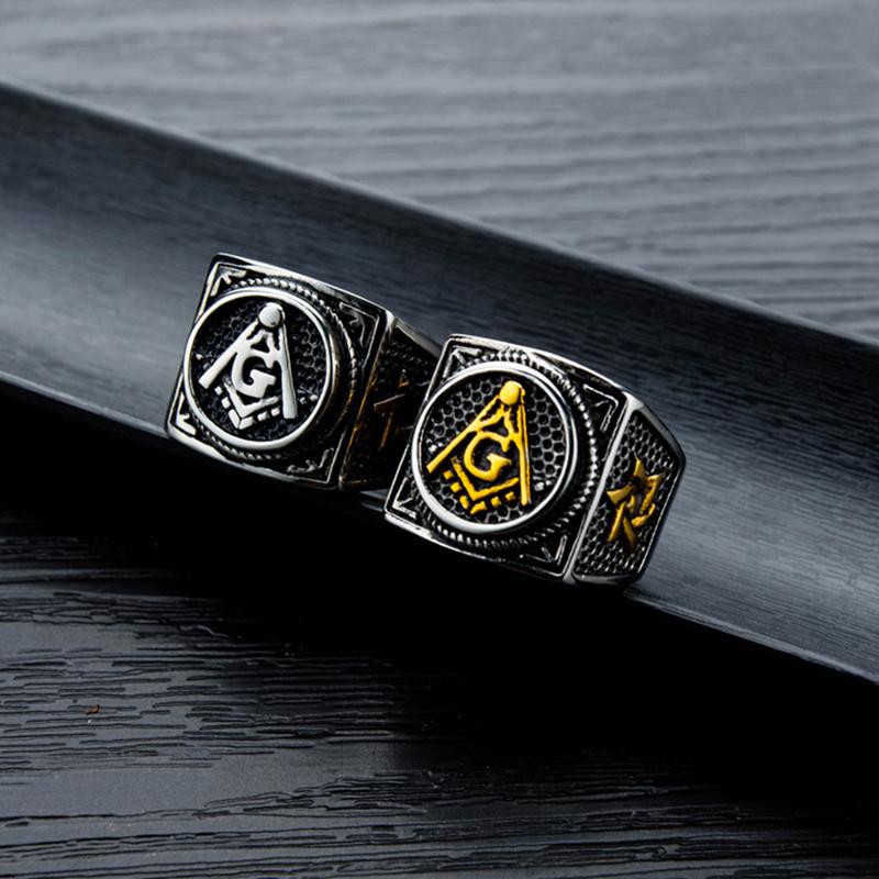 Masonic Titanium Steel Index Finger Ring