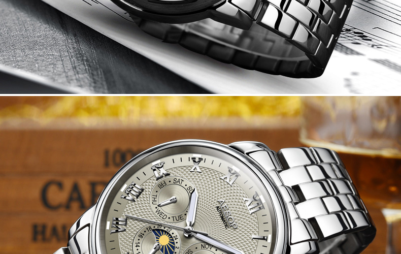 Aesop 9016G Full Steel Automatic Mechanical Watch