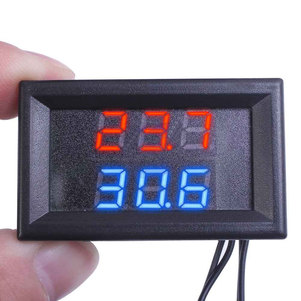 DC 4V-28V Mini Dual Display Digital Thermometer With Dual NTC Waterproof Metal Probe Temperature Sensor Tester for Car Room Indoor