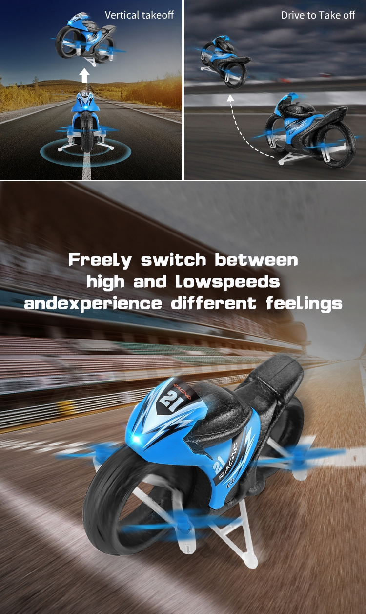 Eachine E021 Racing 2-In-1 Land/Air Mode One Key Switch Flying Motorcycle 2.4G RC Drone Quadcopter - Photo: 5