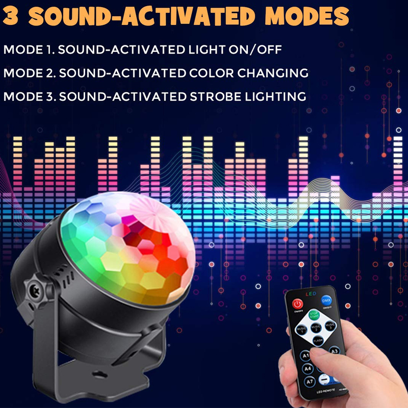 Party Disco Stage Light Strobe Led Rotating DJ Ball Sound Activated Rave Dance Xmas
