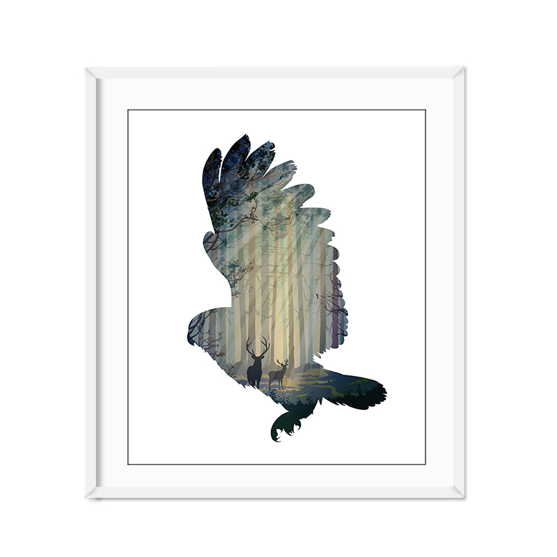 Miico Hand Painted Oil Paintings Simple Style-A Flying Owl Wall Art For Home Decoration Painting
