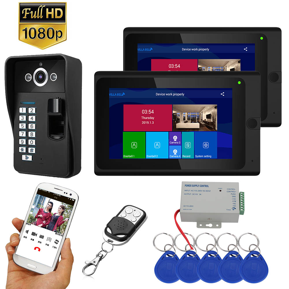 ENNIO 7 inch 2 Monitors Wifi Wireless Fingerprint RFID Video Door Phone Doorbell Intercom System with Wired AHD 1080P Door Access Control System,Support Remote APP unlocking,Recording