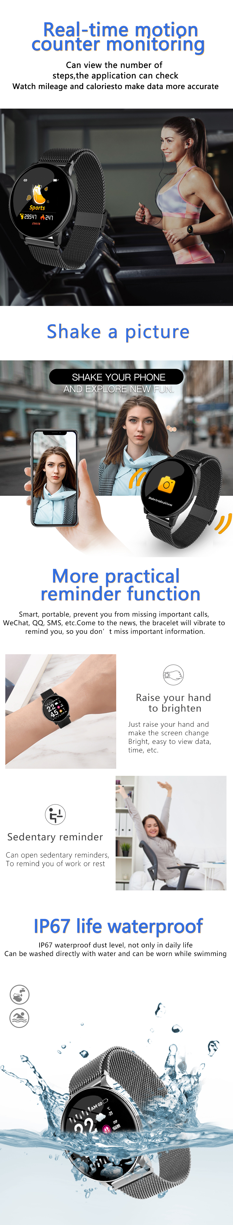 Bakeey W8 Business Style Wristband Heart Rate Blood Pressure Oxygen Test IP67 Smart Watch