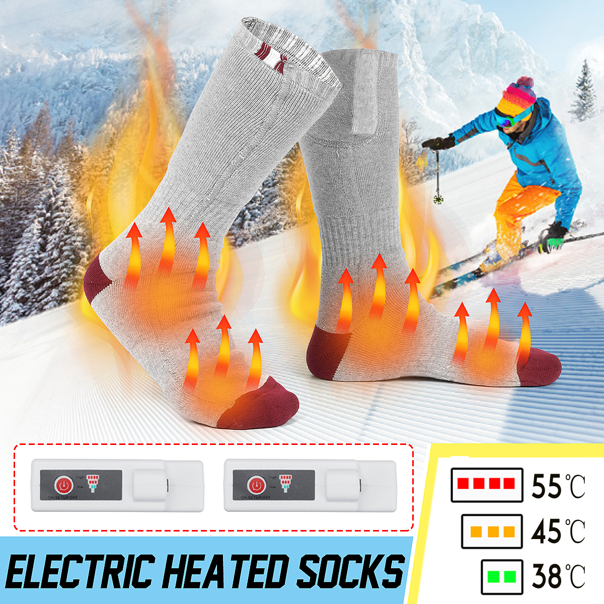 Electric Heating Socks Heated Unisex Universal Stocking Hose For Cold Winter