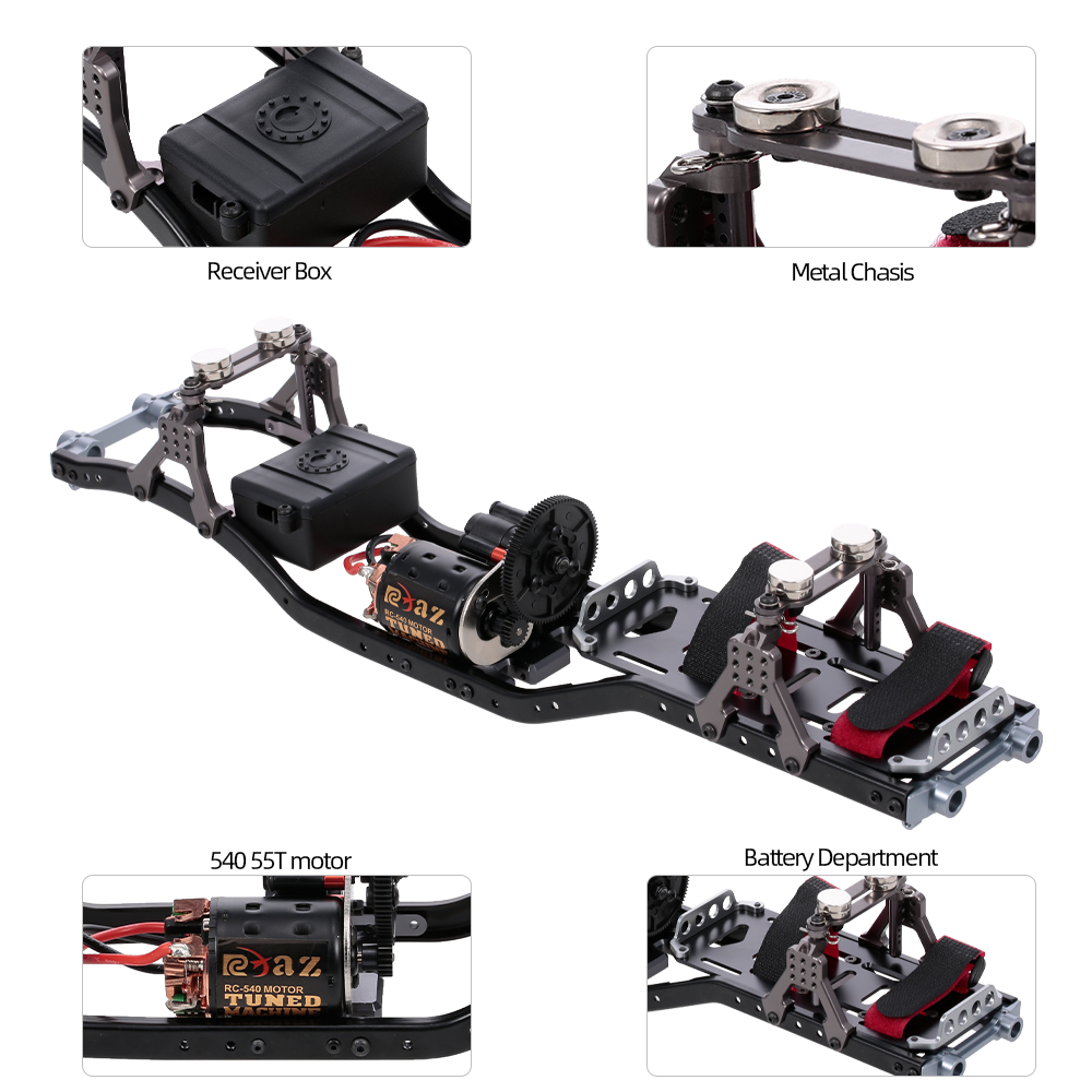 Metal RC Car Frame With Gear Box 55T Motor For Axial Scx RC Car Vehicle Models Parts - Photo: 11