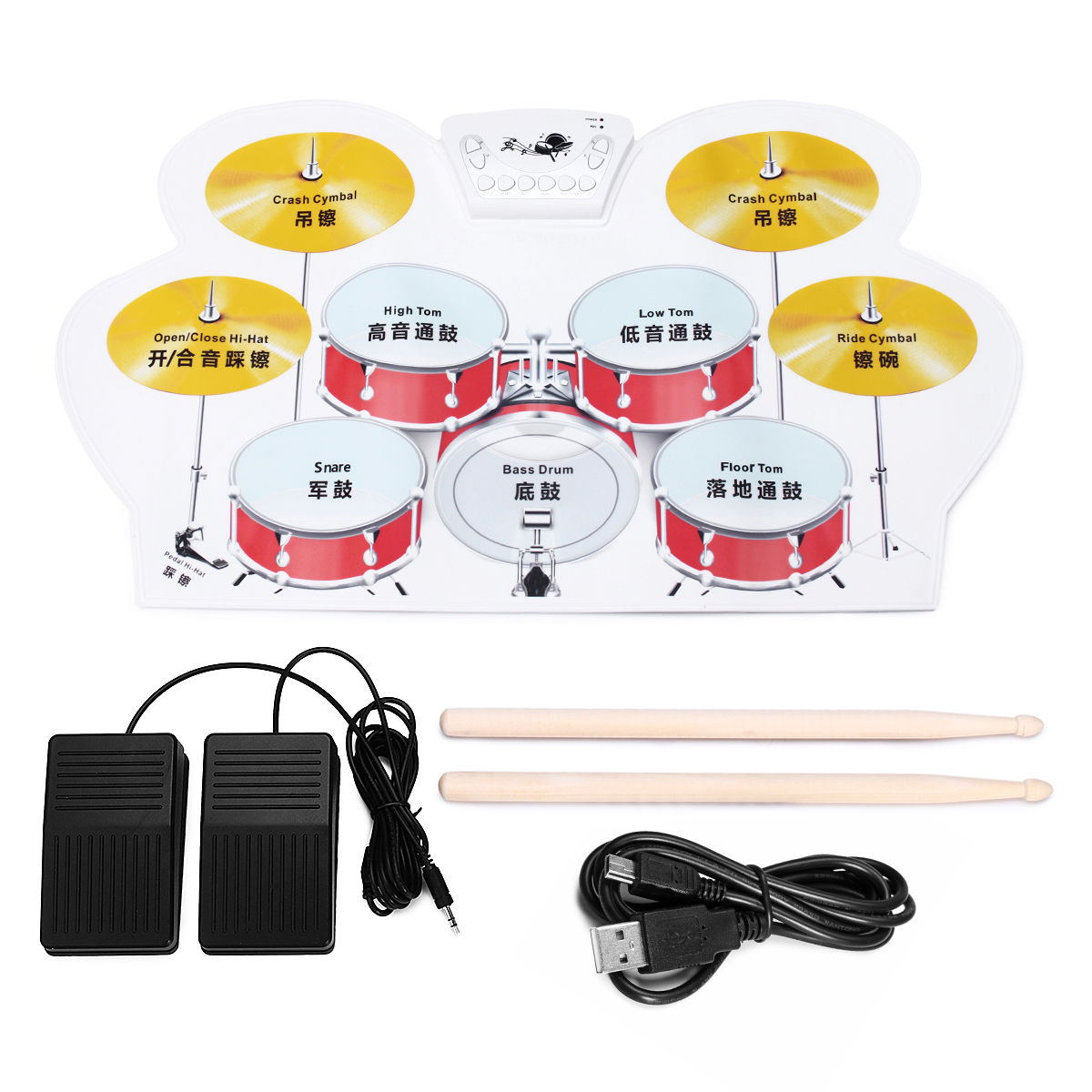 Electronic Drum Speakers Set Rollup Musical Pedals Digital Instruments Kits - Photo: 2