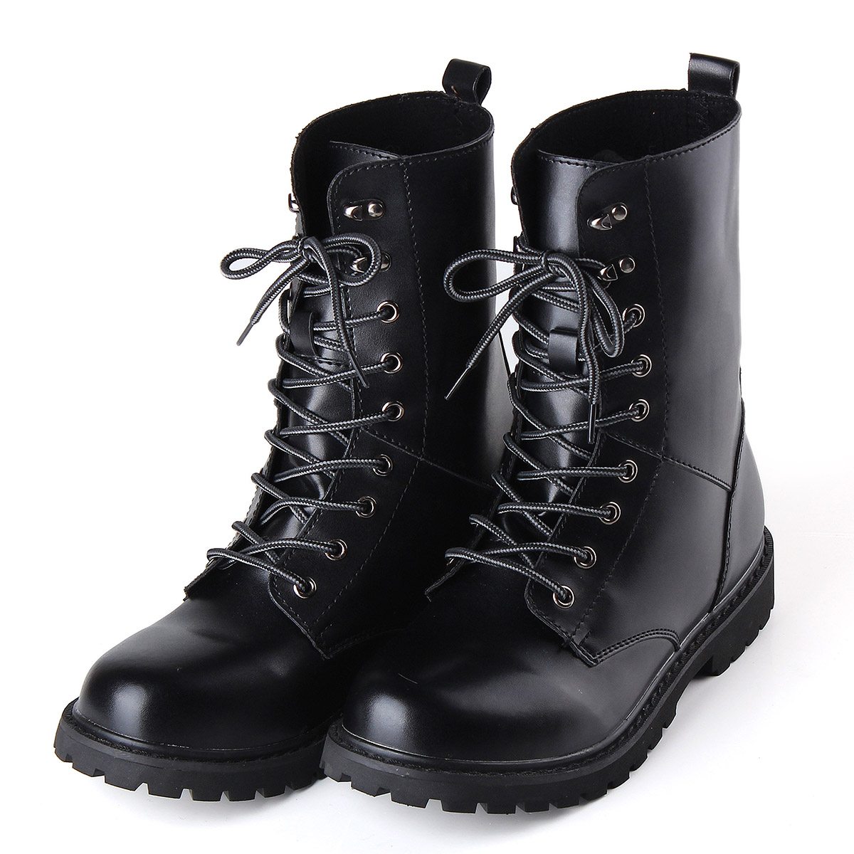 Men's Winter Keep Warm Waterproof Non-Slip Black Combat PU Leather Lace Up Jungle Hiking Snow Boots