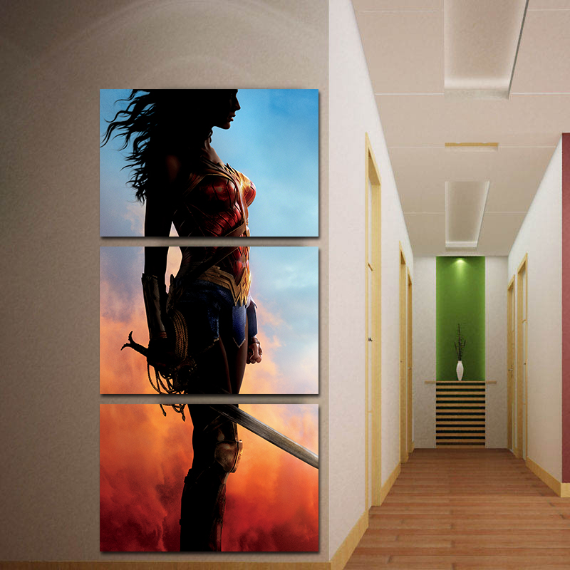 Miico Hand Painted Three Combination Decorative Paintings Wonder Woman Wall Art For Home Decoration