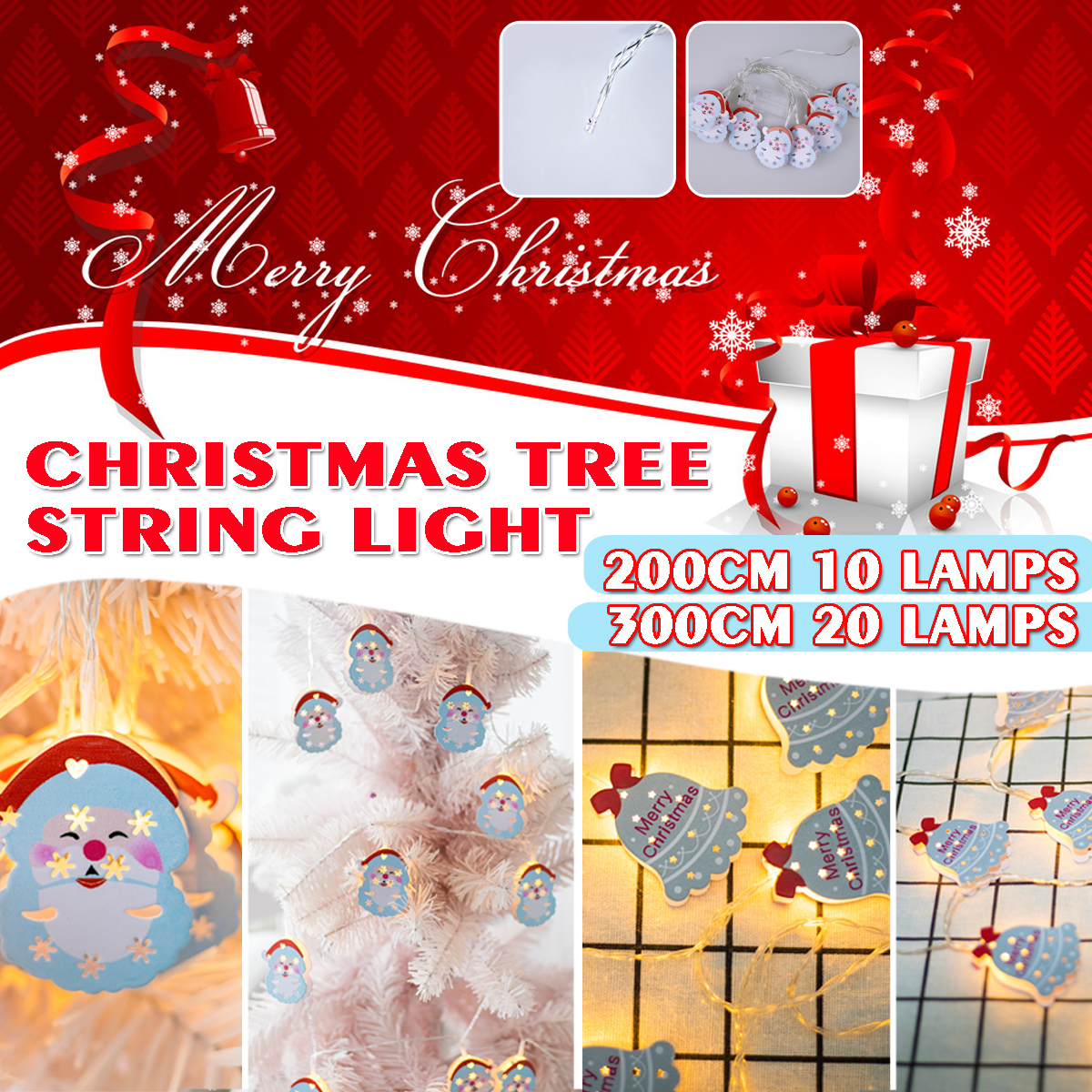 Battery Powered 2M 3M Santa Claus Christmas Bell LED Decorative Tree Fairy String Light for Festival Party