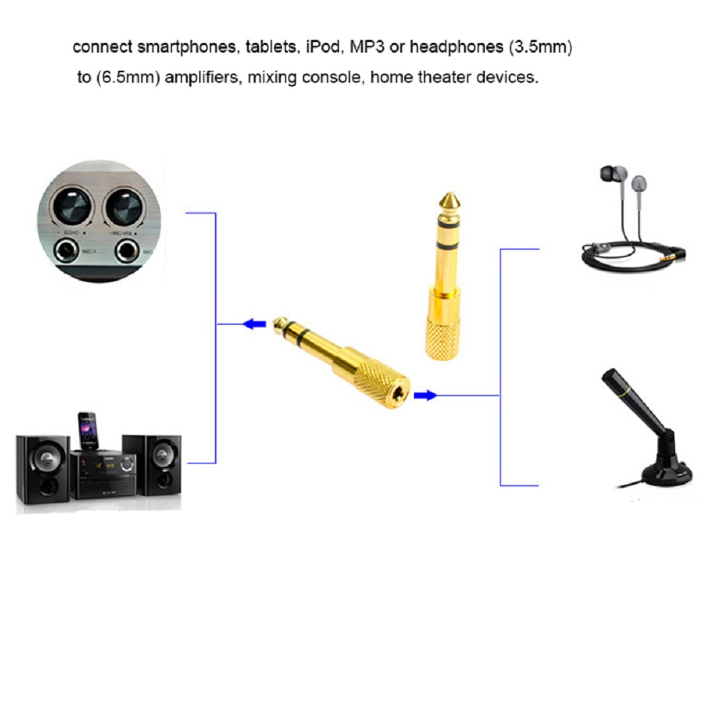Meideal 6.5mm Male to 3.5mm Female Audio Jack Adapter 6.5 3.5 Plug Converter Headset Microphone Guitar Recording Connector - Photo: 2