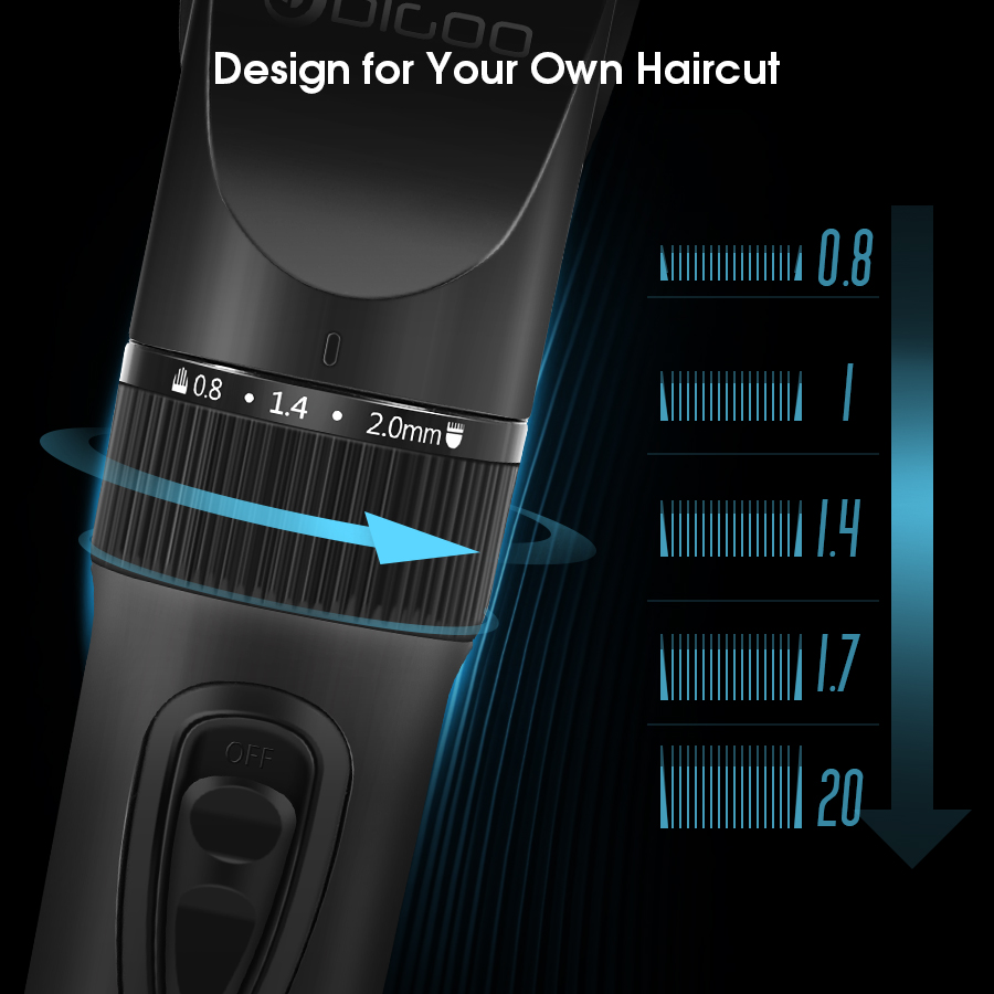 Digoo BB-T2 USB Ceramic R-Blade Hair Clipper Trimmer Rechargeable 4X Extra Limiting Comb Razor Silent Motor for Children Baby Men