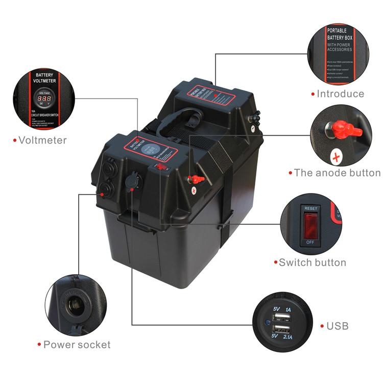 Rolling Motor Smart Battery Box Power Center Black Multifunction Battery Storage For Baot Car