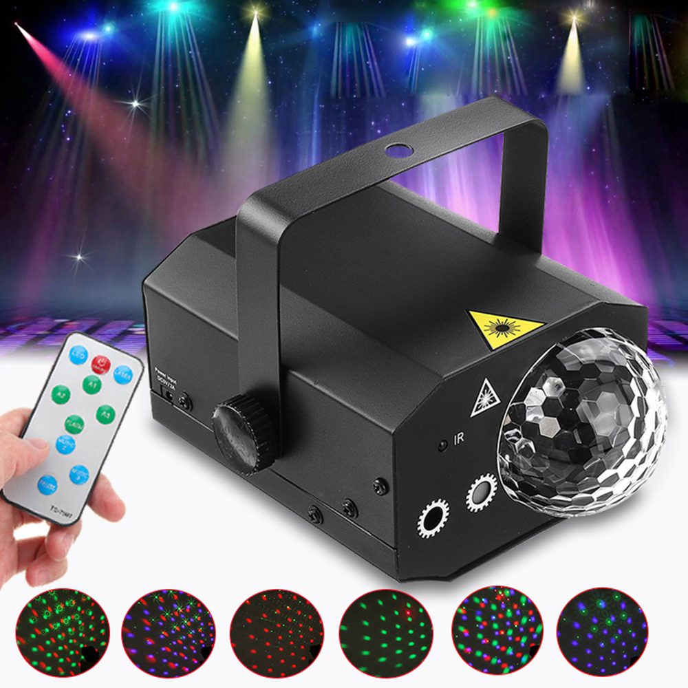 10W 16 in 1 Sound Active Stage Lighting LED Crystal Ball Light Laser Beam RGB Projector DJ Party KTV