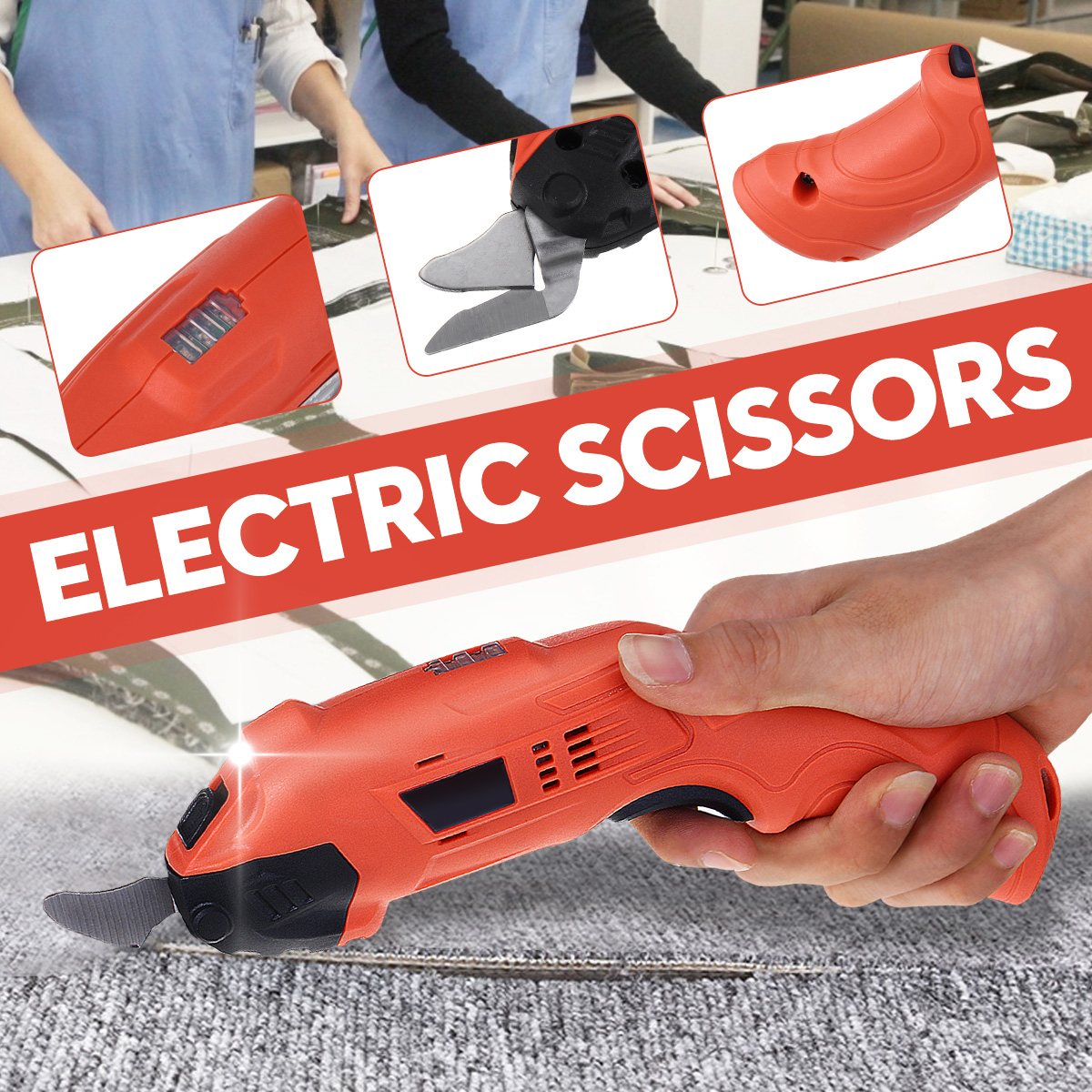 220V Electric Cordless Scissors Tailors Cutter Cutting Machine LED Light With 2 Blades
