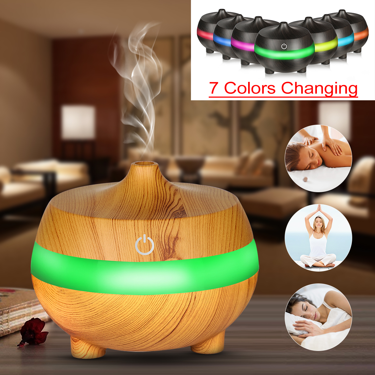 300ml Essential Oil Diffuser Air Humidifier with 7 Color Lights USB Aromatherapy Diffuser with Auto Shut-off Function Cool Mist Humidifier
