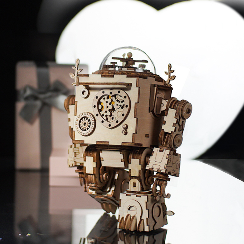 DIY Music Box Set Music Clockwork Wooden Robot Puzzle Assembly Music Box Christmas Gift for Kids