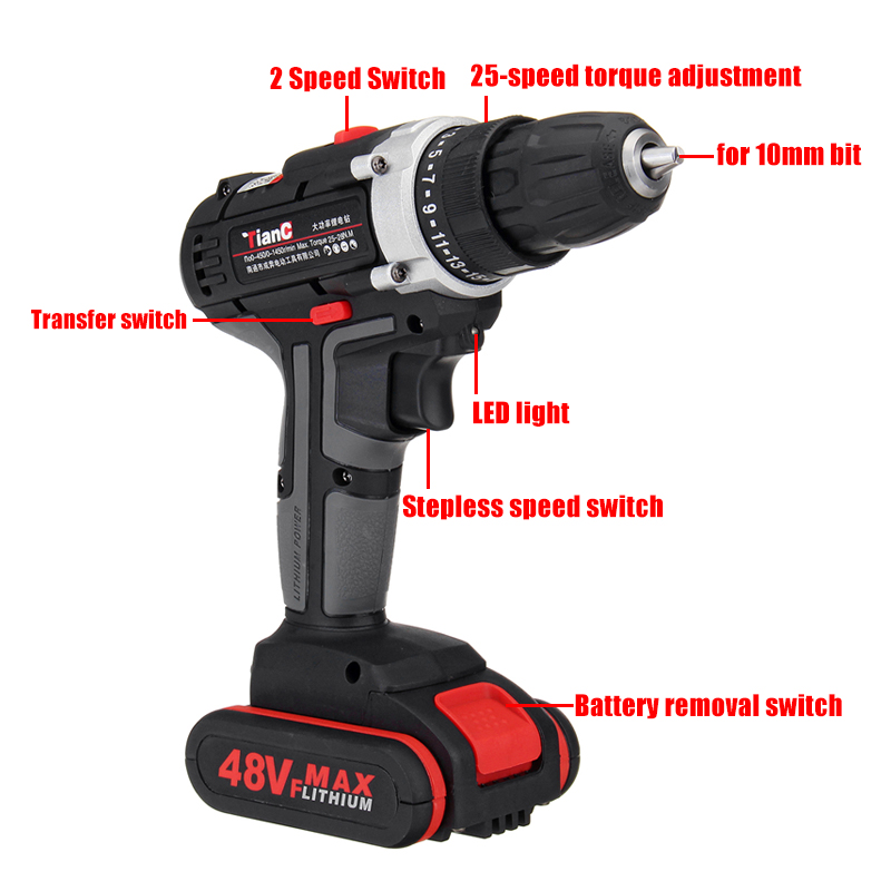 48V Dual Speed Electric Drill Li-ion Battery Power Drills W/ 1 Or 2 Batteries Forward/Reverse Switch
