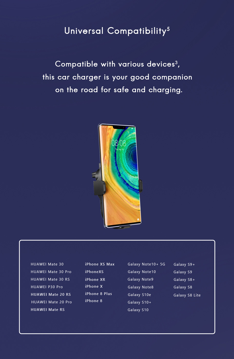 Original HUAWEI Supercharge Qi Wireless Car Charger 27W For Mate 30 Pro iPhone 11 Pro Max