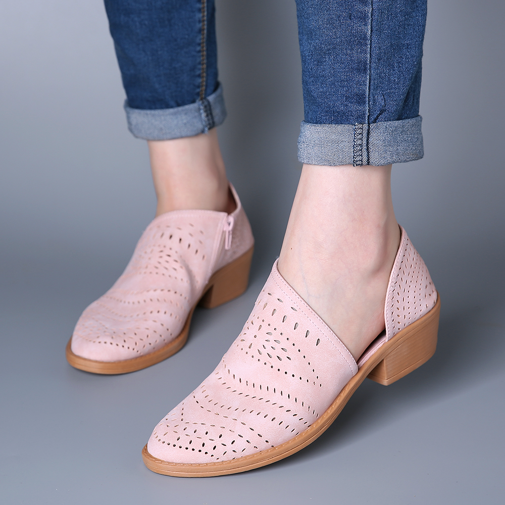 Women Casual Soft Breathable Hollow Zipper Ankle Boots