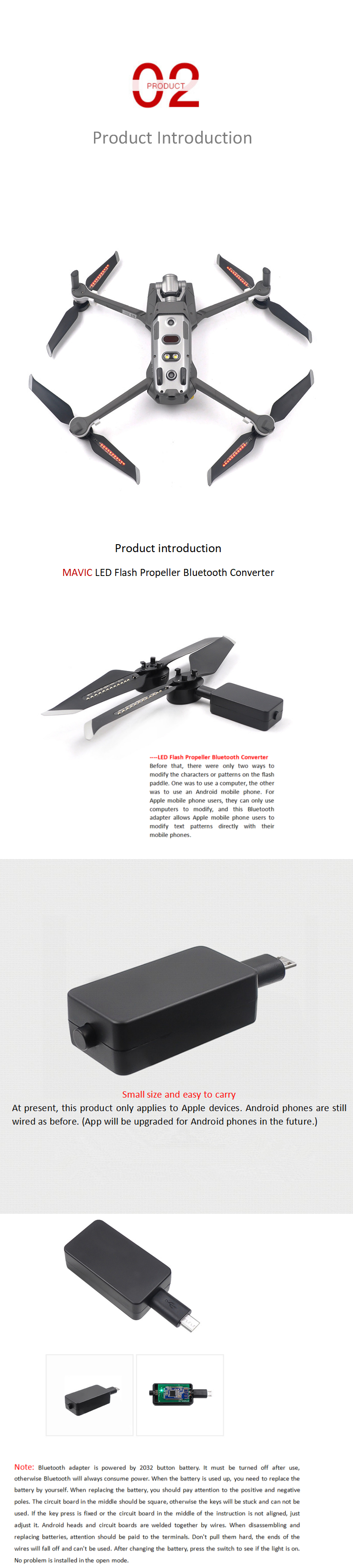 STARTRC Red LED Flash Word Propeller Programmable Rechargeable Props Blade Bluetooth Converter Editor for DJI Mavic 2 Pro/Zoom Drone - Photo: 3