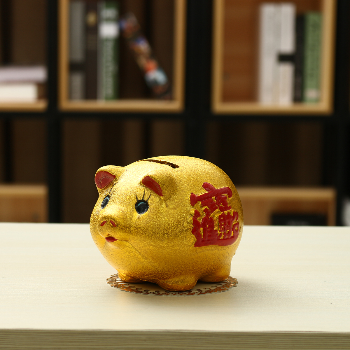 5'' Gold Ceramic Piggy Bank Mini Cute Pig Children Coin Collection Gift Decorations
