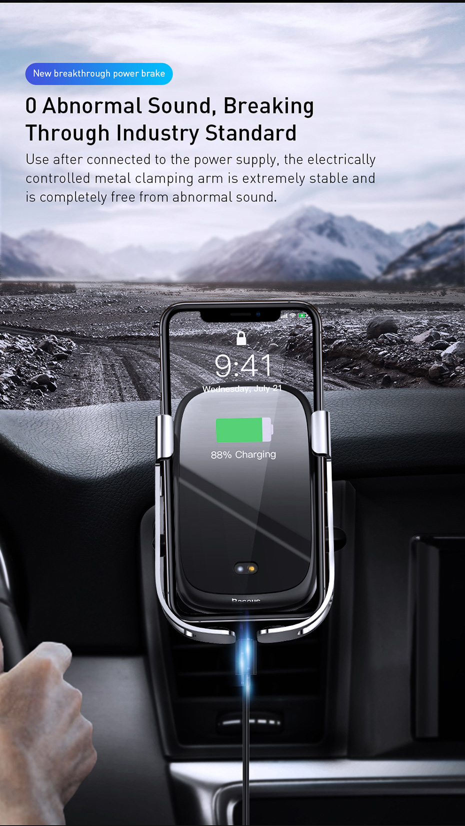 Baseus 10W Auto Induction Qi Fast Charging Wireless Car Charger Phone Holder Air Outlet Bracket For iPhone X XS HUAWEI P30 Oneplus 7 XIAOMI MI 9 S10 S10+