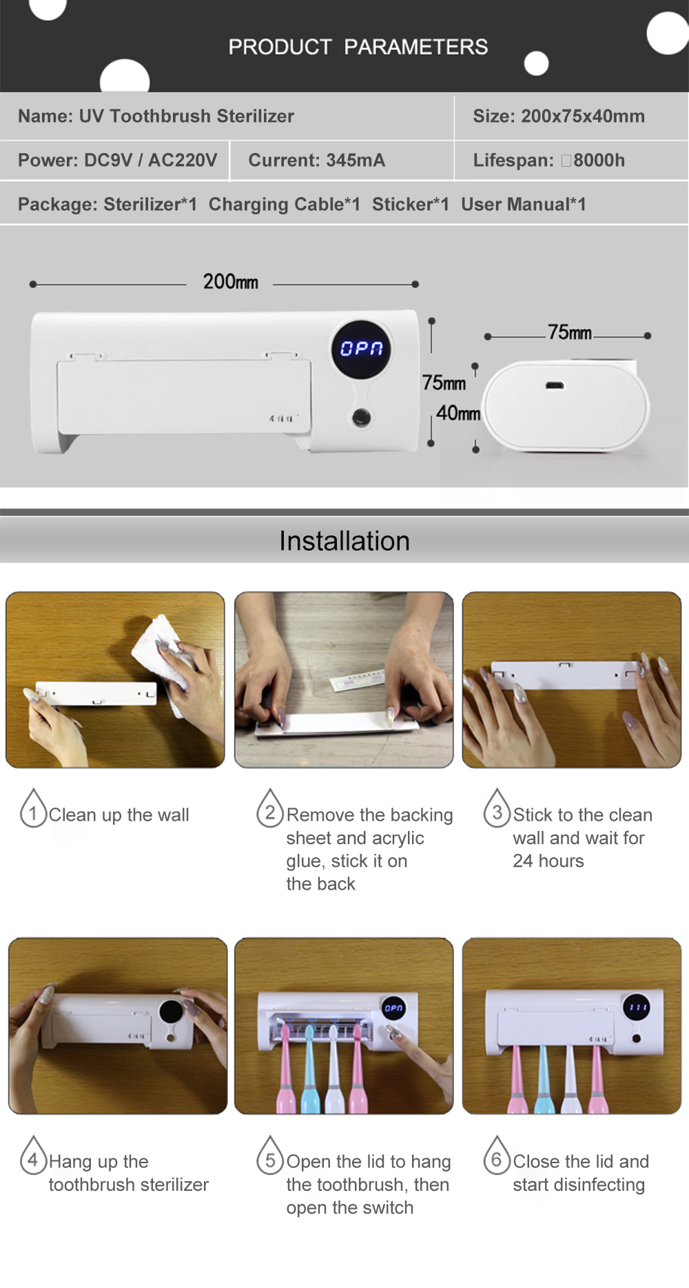 JUJIAJIA Smart Induction UV Electric Toothbrush Sterilizer Toothbrush Holder Sterilization Disinfector for Soocas Oclean Dr. Bei Electric Toothbrushes from Xiaomi Youpin