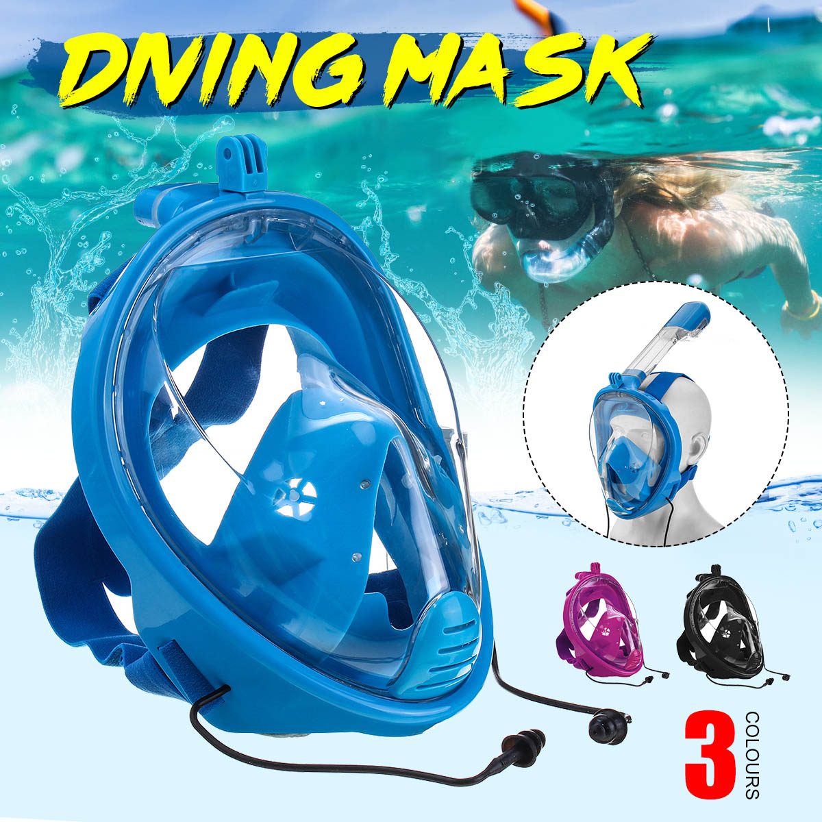 Diving Mirror Snorkeling Mask Rainbow Silicone Breathing