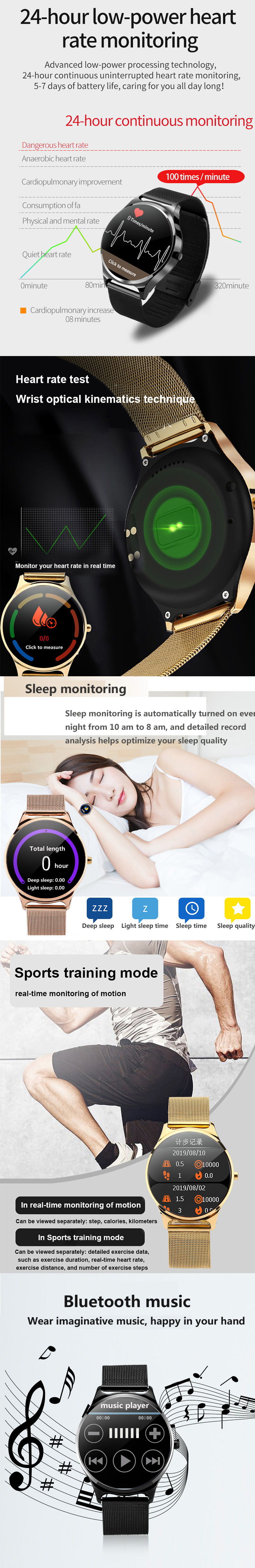 Bakeey W18 1.33 Inch Larger Full Touch Screen RAM 1G Heart Rate Monitor Music Control Weather Smart Watch