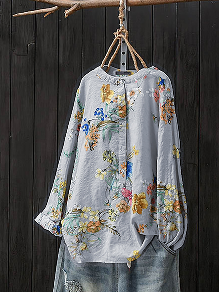 Women Retro Button Stand Collar Floral Print Blouse